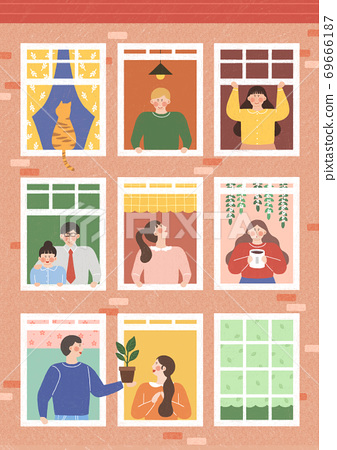 Human life concept, windows with neighbors in flat design illustration 001 69666187