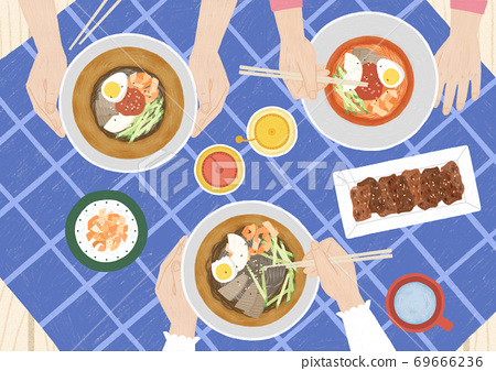 Delicious asian cuisine in flat design top view illustration 002 69666236