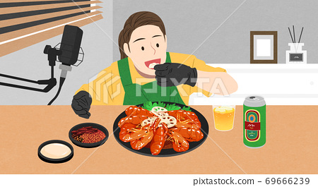 Food eating show, online vloggers eating large quantities of food illustration 004 69666239
