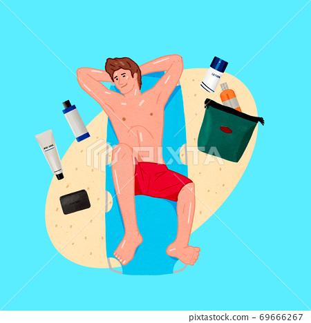 Modern man's life concept flat design illustration 010 69666267