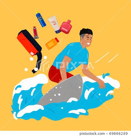 Modern man's life concept flat design illustration 006 69666289