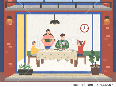 People in the interior concept in flat style illustration 001 69666307