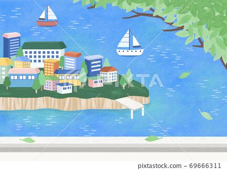 Beautiful summer landscape illustration 004 69666311