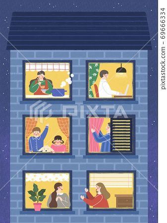 Human life concept, windows with neighbors in flat design illustration 003 69666334