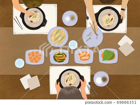 Delicious Korean cuisine in flat design top view illustration 002 69666351