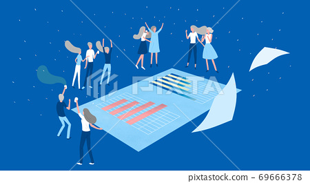 Business concept, working for success aims achievement, business strategy illustration 004 69666378