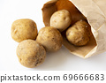 Potatoes rolling from a craft bag 69666683