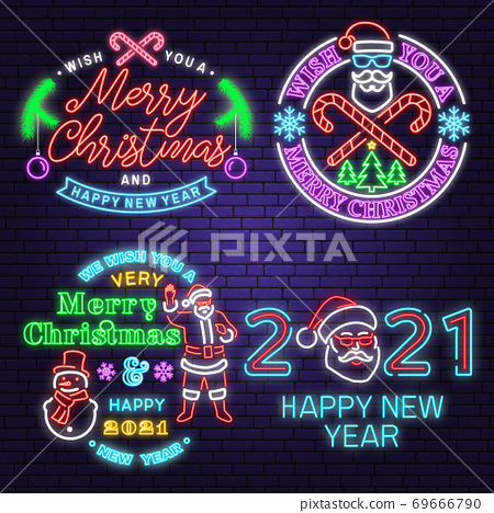 We wish you a very sweet Christmas and Happy New Year neon sign with snowflakes Vector. Neon design for xmas, new year emblem, bright signboard, light banner. Night signboard 69666790