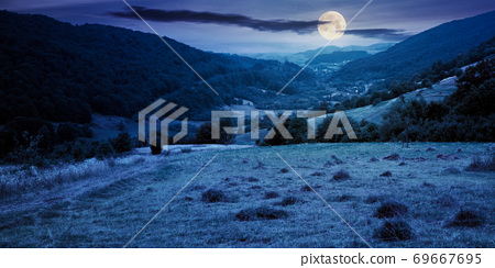 country road through rural field at night. suburban summer landscape in mountains in full moon light 69667695