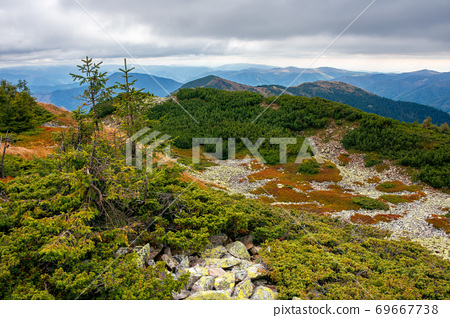 autumn scenery in high mountains. trees on the rocky slopes and hills. colorful nature scenery with cloudy sky above the distant ridge 69667738