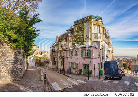Paris France city skyline of beautiful building at Montmartre street 69667982