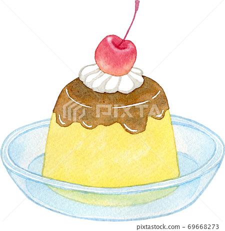 櫻桃和新鮮奶油布丁 69668273