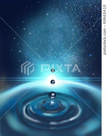 밤하늘 환상적인 우주에 물방울이 떨어지는 판타지 배경 69668410