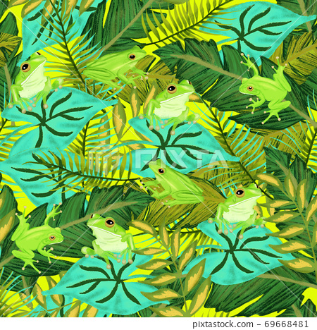 Seamless pattern frogs between leaves. Repeating background with frog sitting on tropical leaves and 69668481