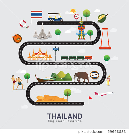 Road map and journey route in Thailand 69668888