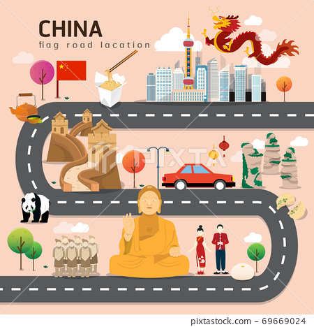 Road map and journey route in China 69669024