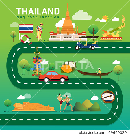 Road map and journey route in Thailand 69669029