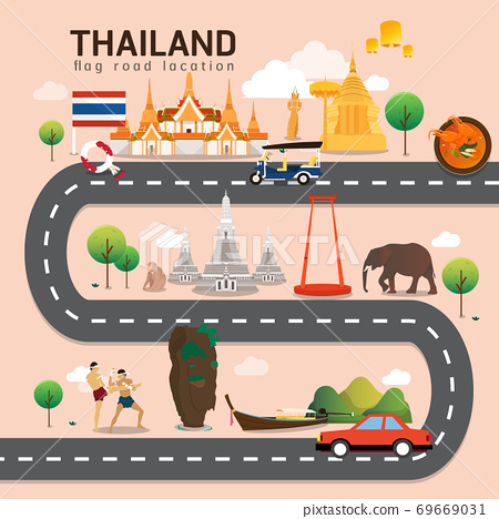 Road map and journey route in Thailand 69669031