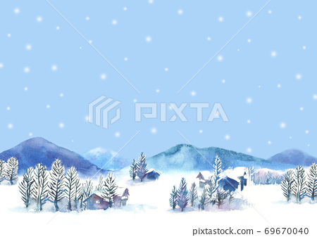 Illustration of snow scene drawn in watercolor 69670040