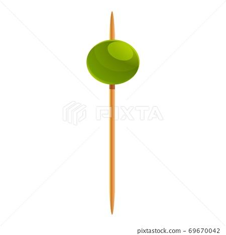 Restaurant olive toothpick icon, cartoon style 69670042