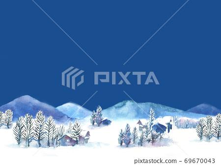 Illustration of snow scene drawn in watercolor 69670043
