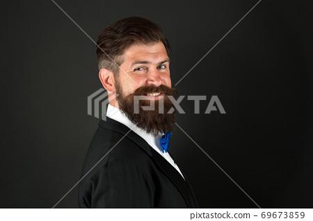 Long beard and mustache. Barbershop concept. Stylist 69673859
