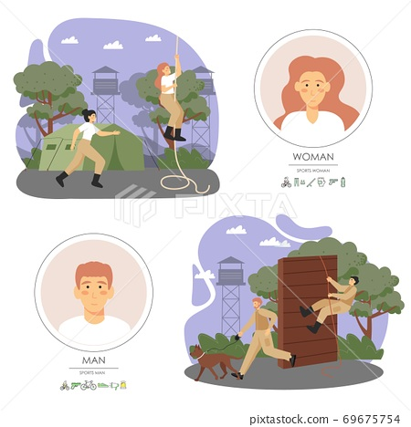 Army soldiers male and female characters climbing rope, obstacle, running, training dog, flat vector illustration 69675754