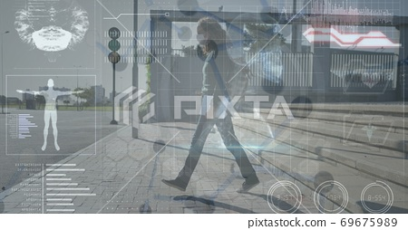 Digital illustration of a woman wearing a mask walking on a street over data processing 69675989
