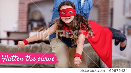 The words Flatten the curve with a Caucasian man and girl wearing capes during coronavirus covid19 p 69676424