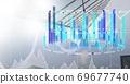 Digital illustration of data processing and statistics showing 69677740