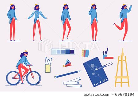 Creative Profession Character - Poses, Action Set. 69678194