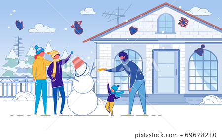 Family, Mother, Father and Children Make Snowman. 69678210