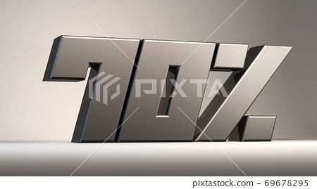 70% modern metal isolatedon background, 3d render illustration 69678295