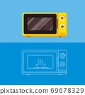 Microwave oven with a dish inside.Flat vector illustration. 69678329