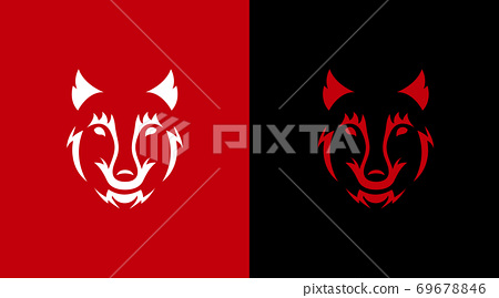 Face wolf on a black and red background. Wild animal horror illustration 69678846