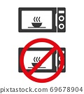 Microvave oven icon with warning sign. Product sticker, cooking instruction pictogram. Vector illustration. 69678904