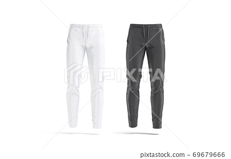 Blank black and white sport pants mock up, front view 69679666