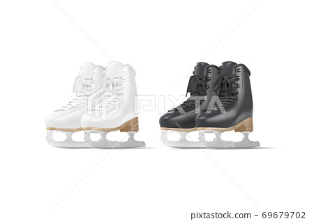Blank black and white ice skates mockup set, half-turned view 69679702