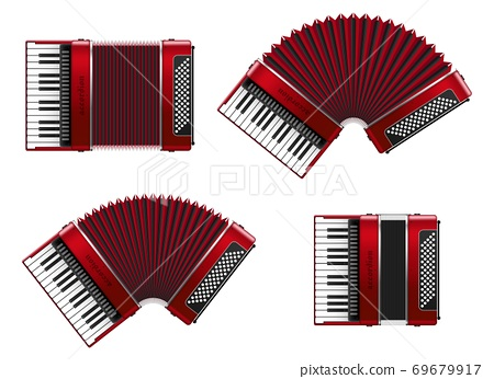 Realistic accordion vector illustration isolated on white background 69679917