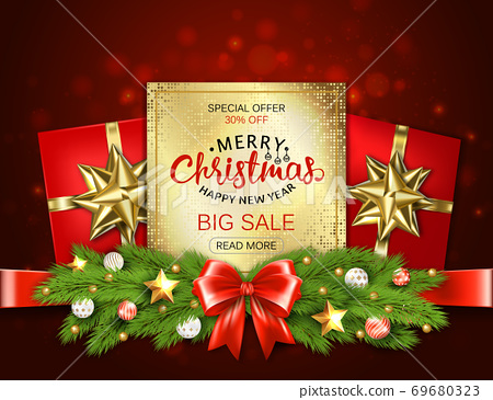 Merry Christmas sale banner with pine branches decorated, gold stars and bubbles on red background. Vector illustration template greeting cards with lettering. 69680323