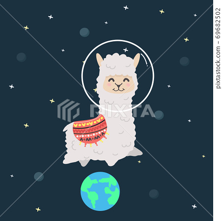 happy Cute alpaca fluffy Astronaut flying in space 69682502