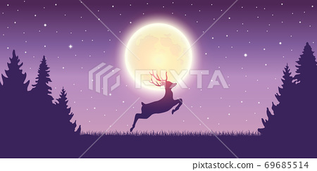 jumping deer in the nature by moon light 69685514