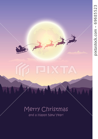 christmas banner santa claus in a sleigh with reindeer by full moon 69685523