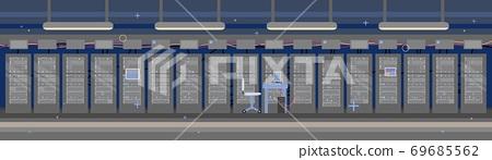 Empty data hosting server room interior background flat vector illustration. 69685562