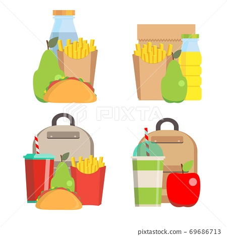 Lunchbox with cheese sandwich, tomato slices, potato chips, paper bag for school or work set. Dinner 69686713