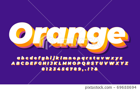 white orange and purple modern 3d alphabet text effect or font effect style design 69688694