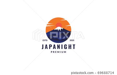fuji mountain japan and sunset circle logo design 69688714