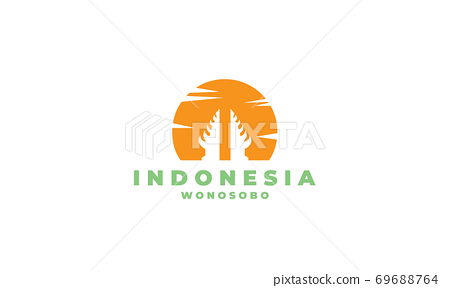 temple and sunset indonesian logo design 69688764