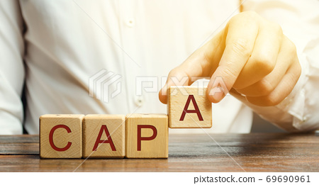 Businessman puts wooden blocks with the word CAPA. Corrective and Preventive action plans. Business management concept. Strategy and efficiency. Improving organizational processes. Performance 69690961