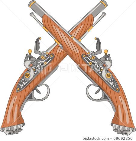 Two old flintlock pistols. 69692856